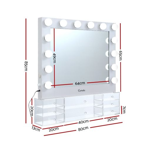 MM-FRAME-6580DW-WH-AB: Hollywood Makeup Mirror with Lights & Vanity Unit. The Makeup Mirror Co.   AfterPay Today   Free Shipping