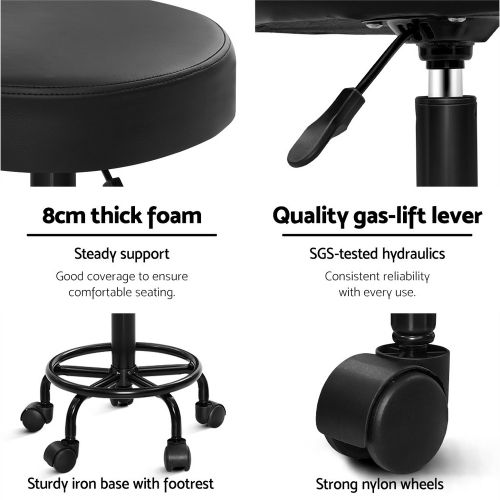 SALON-RD-NEW-BK: Salon Stool: Makeup Chairs & Stools. The Makeup Mirror Co.   AfterPay Today   Free Shipping