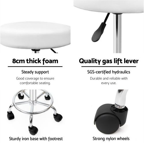 SALON-RD-WH Salon Stool: Makeup Chairs & Stools. The Makeup Mirror Co. | AfterPay Today | Free Shipping