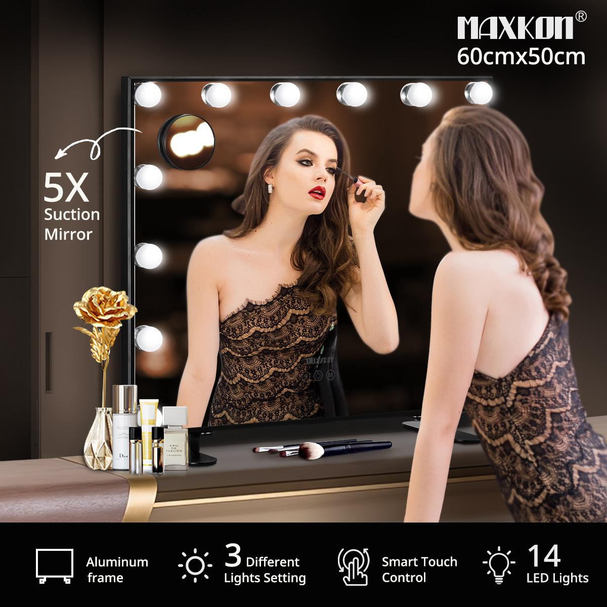 Touch Controlled Hollywood Led Makeup Mirror With 14 Bulbs Black The Makeup Mirror Co