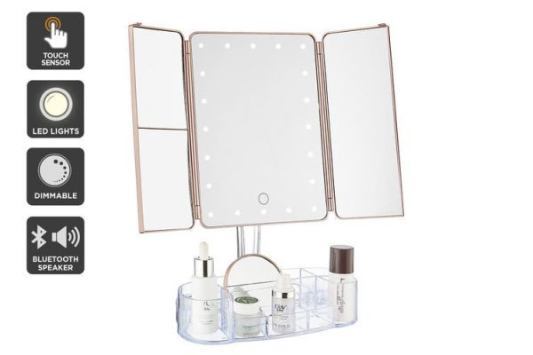 Ovela Fold Out Hollywood Makeup Mirror + Makeup Storage (Rose Gold) - Makeup Mirror Co. Australia