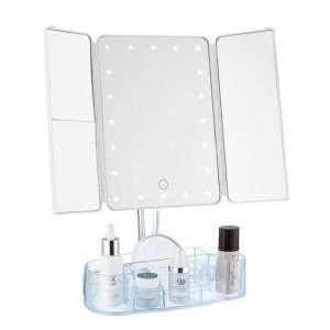 Ovela Fold Out Hollywood Makeup Mirror + Makeup Storage (White) - Makeup Mirror Co. Australia
