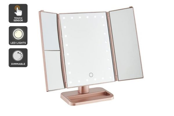 Ovela Fold Out Hollywood Makeup Mirror (Rose Gold) - Makeup Mirror Co. Australia